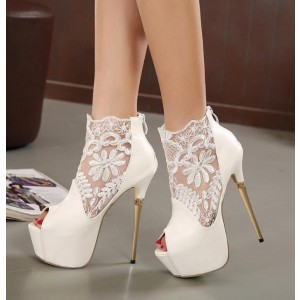 White Wedding Shoes Peep Toe Lace Stiletto Heel Ankle Booties