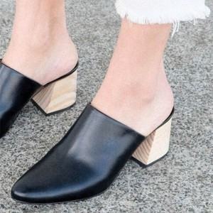 Women's Black Block Heel Sandals Almond Toe Mules