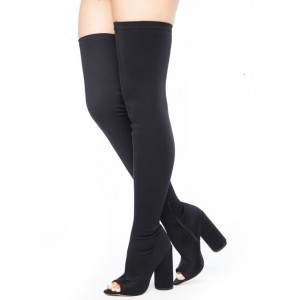 Black Lycra Thigh High Heel Boots Peep Toe Cylindrical Heel Boots