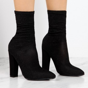 Black Sock Boots Chunky Heel Fashion Ankle Booties