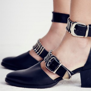 Black Ankle Strap Block Heels Almond Toe Pumps with Buckles