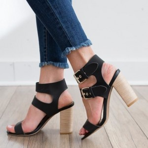 Women's Black Slingback Heels Open Toe Buckle Chunky Heel Sandals