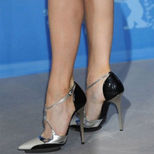 Silver and Black Pointy Toe Sexy Stiletto Heels Pumps