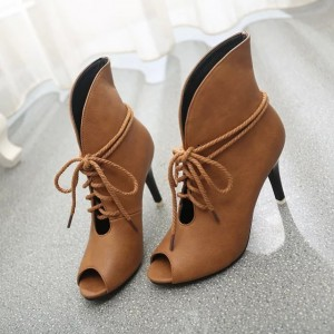 Women's Brown Peep Toe Lace Up Boots Ankle strap Heels Boots