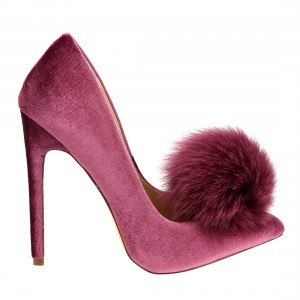 Burgundy Velvet Pom Pom Shoes Pointy Toe Stiletto Heel Pumps