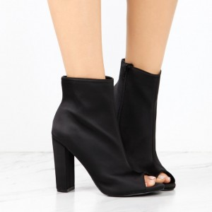 Women's Classical Black Chunky Heel Boots Zip Peep Toe Ankle Boots