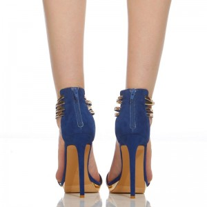 Cobalt Blue Shoes Metal Stiletto Heel Closed Toe Sandals