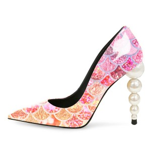 Multicolor Mermaid Evening Shoes Pearl Heel Pumps