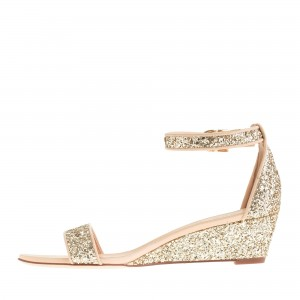 Golden Glitter Bridal Sandals Open Toe Wedge Heels Ankle Strap Sandals