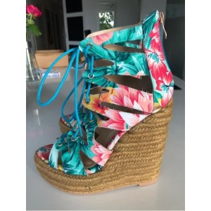 Jungle Floral Heels Open Toe Lace up Platform Wedge Sandals