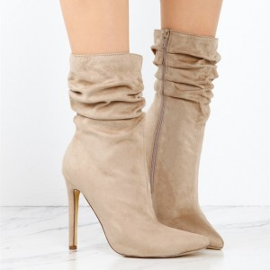Women's Khaki Stiletto Boots Fashion Suede Pointy Toe Ankle Boots