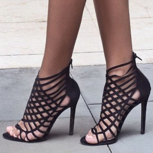 Women's Leila Black Caged Open Toe Stiletto Heel Strappy Sandals