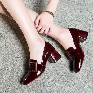 Women's Maroon Square Toe Chunky Heels Commuting Vintage Shoes