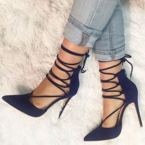 Women's Navy Ankle Straps Pointy Toe Stiletto Heel Pumps