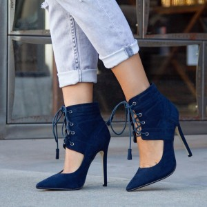 Navy Lace up Heels Cut out Stiletto Heel Suede Shoes