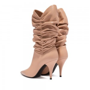 Women's Nude Slouch Boots Pointy Toe Stiletto Heel Boots