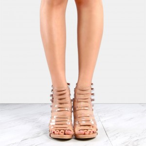 Blush Patent Leather and Clear Heels Stiletto Gladiator Heels Sandals