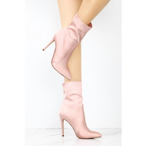 Women's Pink 4 Inch Stiletto Heels Fashion Ladies Ankle Boots