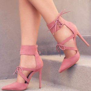 Women's Pink Pointy Toe Lace up Ankle Strap Heels Stiletto Heel Pumps