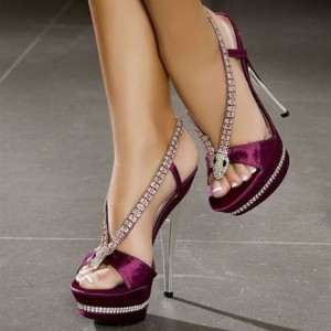 Burgundy Rhinestone Heels Prom Shoes Satin Platform Sandals for Party