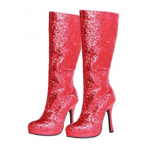 Red Glitter Boots Closed Toe Platform Fashion Party Boots