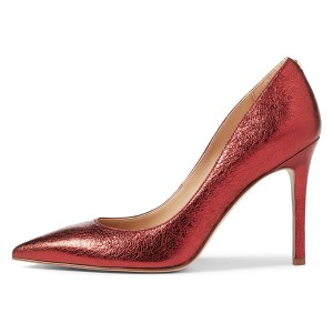 Women's Red Pointy Toe Stiletto Heels Pumps