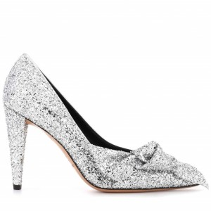 Silver Glitter Wedding Shoes Bow Detailed Pumps