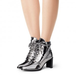 Silver Gray Lace up Boots Pointed Toe Chunky Heels Ankle Boots