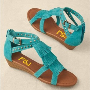 Turquoise Suede Fringe Sandals Open Toe Low Heel Studs Shoes
