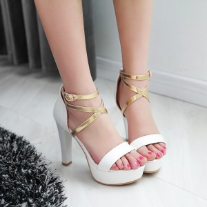 Women's White Ankle Strap Cross Over Platform Chunky Heel Sandals