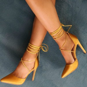 Mustard Satin Strappy Heels Pointy Toe Ankle Wrap Stiletto Heel Pumps