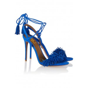 Royal Blue Heels Fringe Sandals Tassels Strappy Stiletto Heels