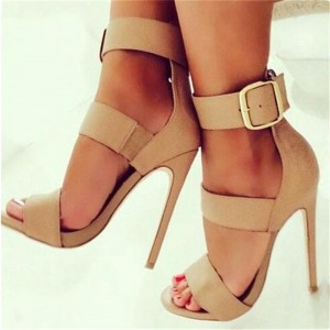 Khaki Tri-strap Open Toe Stiletto Heels Sexy Buckle Strappy Sandals