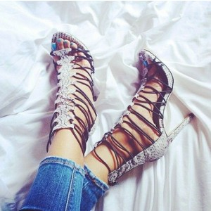 Light Grey Python Stilettos Gladiator Heels Strappy Sandals