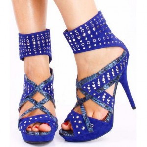 Royal Blue Studs Shoes Peep Toe Suede Platform Stripper Sandals