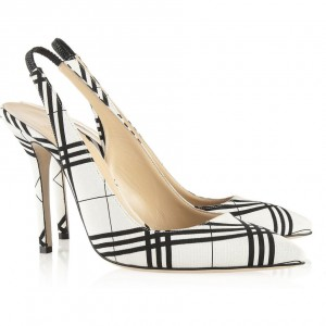 Black and White Heels Plaid Slingback Pumps Stiletto Heels