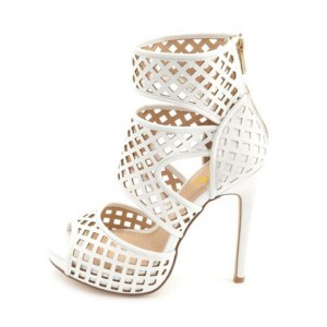 White Stiletto Heels Hollow out Cage Sandals Peep Toe High Heel Shoes