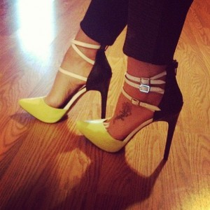 Yellow and Black Closed Toe Sandals Stiletto Heel Shoes with Buckles