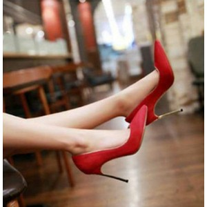 Women's Coral Red Suede Stiletto Heel Pumps Bridal Heels