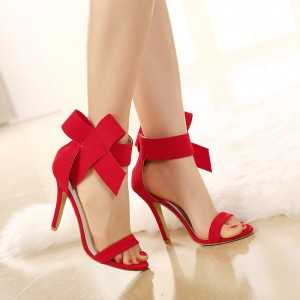Red Wedding Shoes Cute Bow Stiletto Heels Ankle Strap Sandals