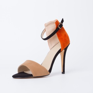 Khaki and Orange Ankle Strap Sandals Open Toe Suede High Heels