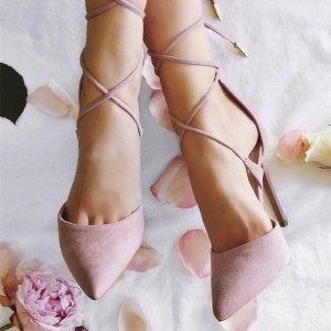 Pink Strappy Heels Pointy Toe Suede Stiletto Heel Pumps