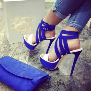 Royal Blue Heels Open Toe Stiletto Heels Platform Sandals