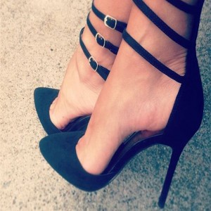 Black Stiletto Heels Closed Toe Sandals Multi-strap High Heels Shoes