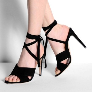 Black Stiletto Heel Strappy Sandals Suede Open Toe Sexy Shoes