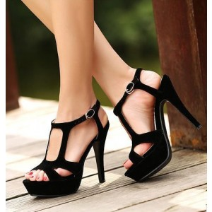 Black Suede Vegan Shoes Open Toe Platform High Heel Sandals