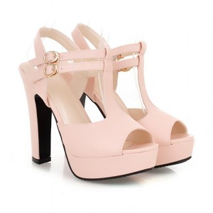 Women's Pink T-Strap Sandals Peep Toe Chunky Heels Ankle Strap Sandals