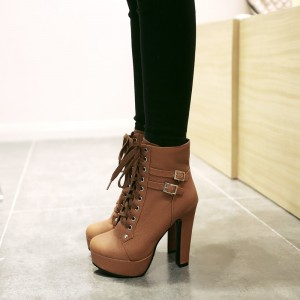 Tan Short Boots Vegan Leather Lace up Platform Chunky Heel Ankle Boots