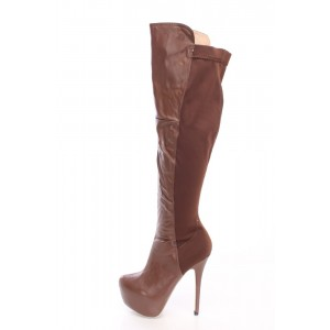 Brown Platform Boots Stiletto Heel Knee High Long Boots