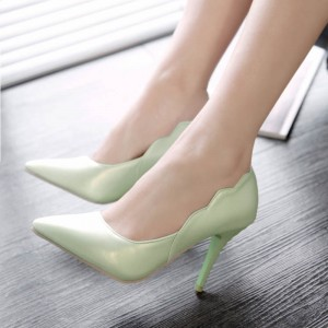Mint Green Stiletto Heels Pointy Toe Curves Pumps for Women